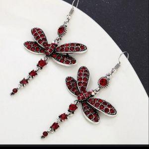 3XHP! NWT Boho Red Crystal Dragonfly Earrings!